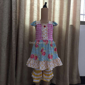 2017 girls boutique remake clothing sets spring vietnam children smocked clothing kids clothes