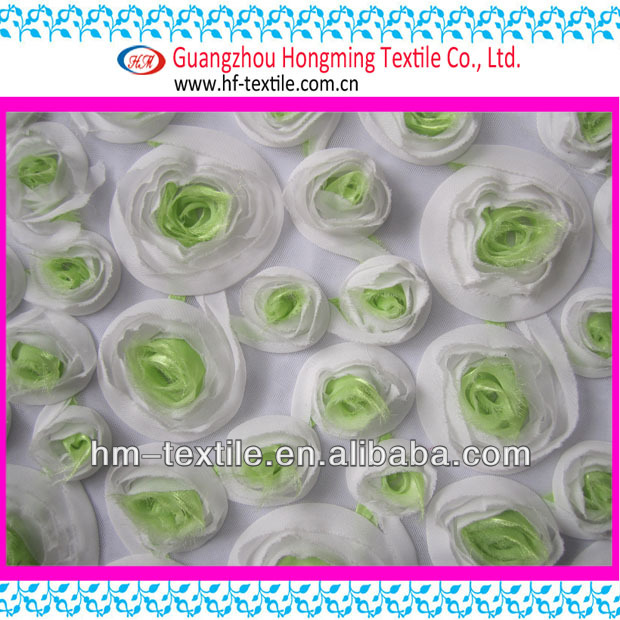 Organza Rose Ribbon Embroidery Fabric for Evening Dress