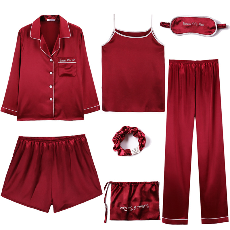 Women Pajamas 7pcs Sets Sexy Imitation Silk Pyjamas Set Loose coat+Camisole+long pant+short pant and Hair rope Women nightwear