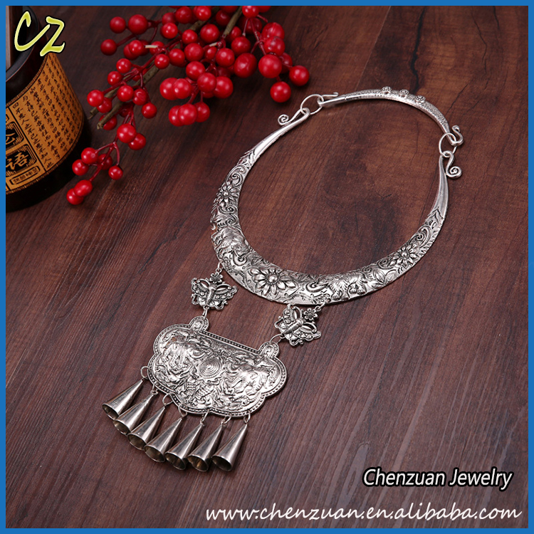 European style antique vintage jewelry 925 sterling silver beaded tassel choker necklace