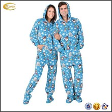 Ecoach 2016 winter adult men and women couples warm hoodie fleece footed pajamas printed good quality wholesale lounge wear