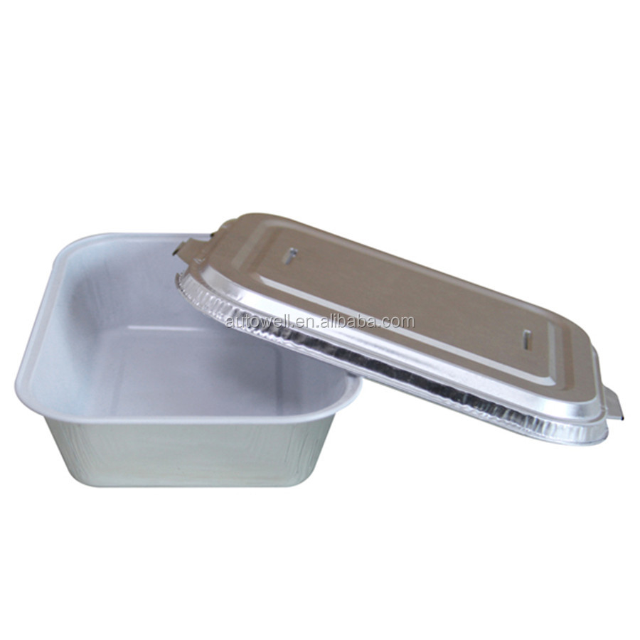white coated Aluminium foil tray/box/container with lid
