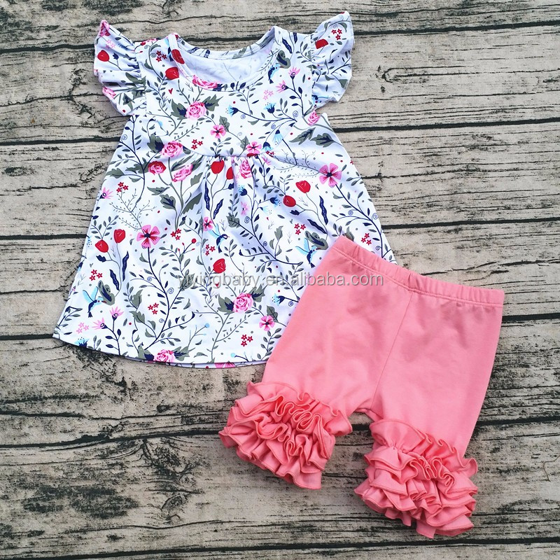 Toddler Girl Baby Infant Floral Ruffled Shorts Boutique Outfit Infant Clothes