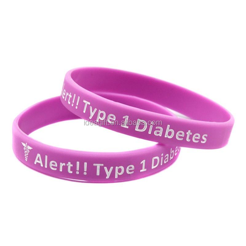 c283f5abf940 50 unids lote Alerta Médica pulseras de silicona para la Diabetes de tipo 1  dependiente
