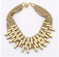 Gold Necklace Designs, PT1378 Luxury Wholesale Fashion Jewelry Alloy Bars Bar On Mesh Chain Bib Gold Necklace Designs
