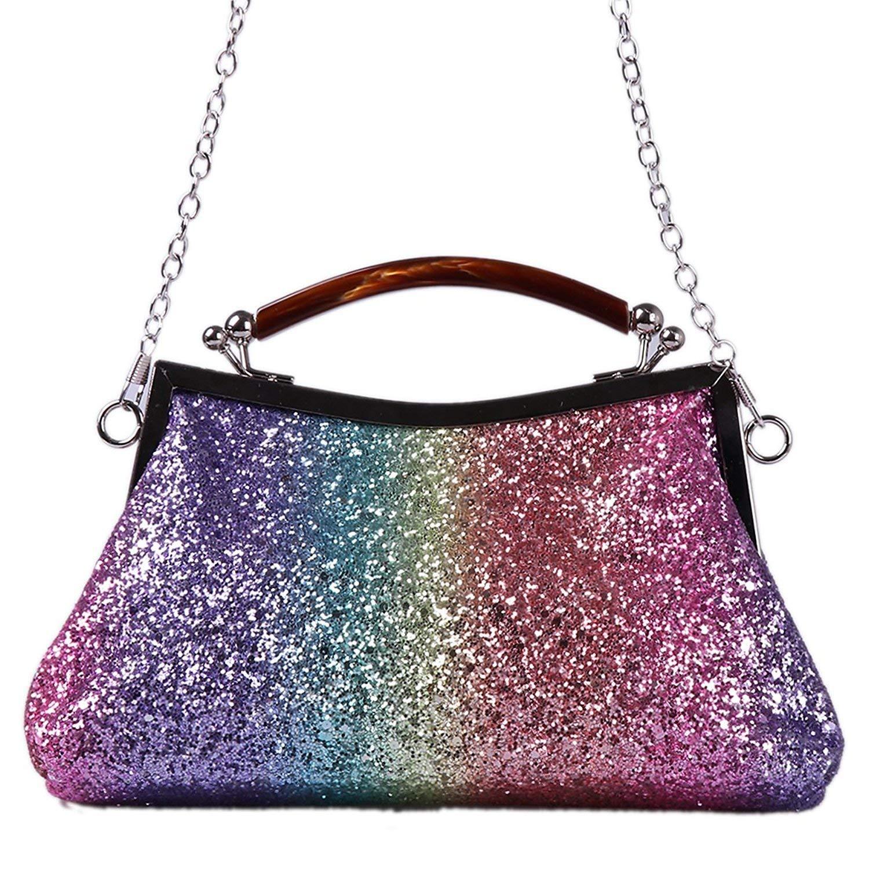 3191b660d46 Get Quotations · xhorizon FL1 Women Glitter Clutch Evening Bag Handbag  Bling Party Purse