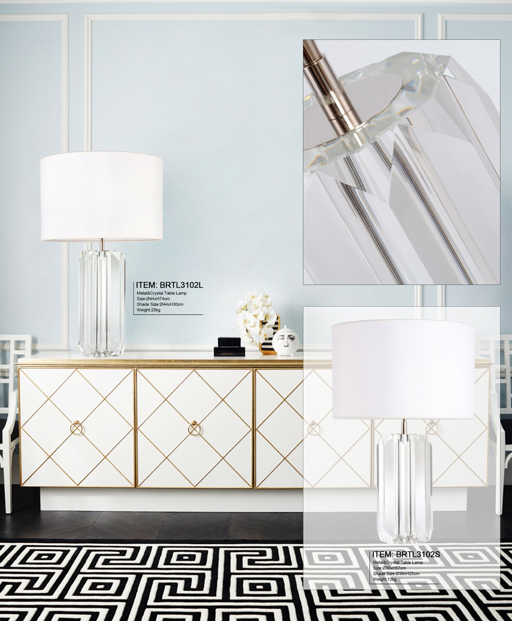 Modern Design Cutting Technique K9 Prism Crystal Table Lamps for Luxury Bedroom Side Table Lamps