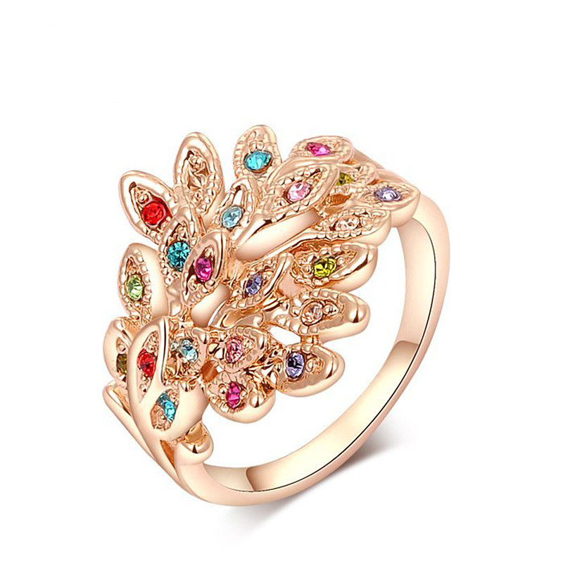 2017 New Fashion Luxury Jewelry Cubic Zirconia Gold Peacock Design