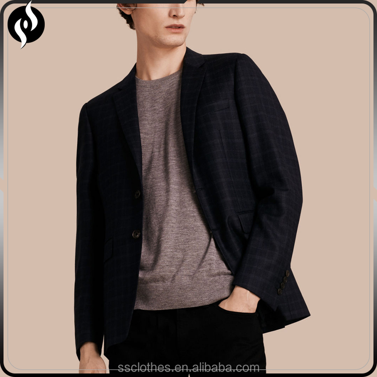 Wholesale latest casual black check slim fit blazer men wool custom mens suit