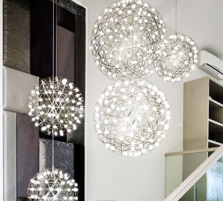 Creative Modern Villa Lights Spark Ball Stars Chandeliers For Party Decor Wedding Light