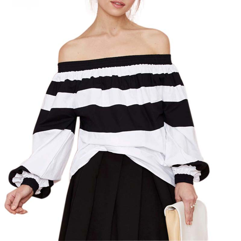 58b5d0b8c10a7 Get Quotations · 2015 spring and summer new European navy style shoulder  black and white striped stitching shirt elegant