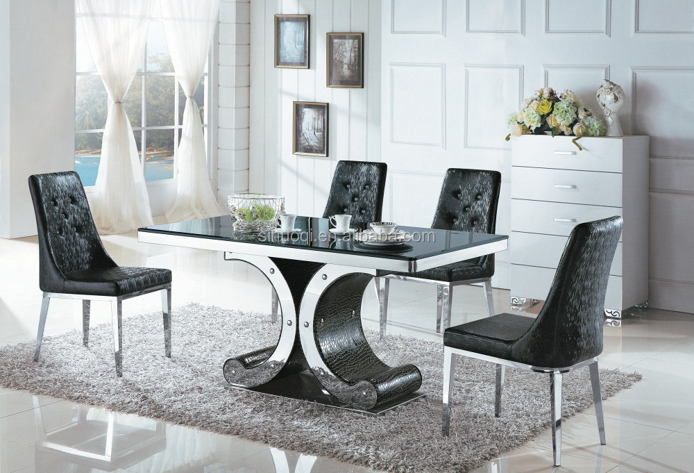 Hot Sale Newest Design Glass Dining Table Chair Set Dinner Table Set  Stainless Steel Table Leg