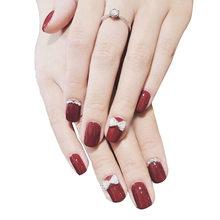 Элегантные Стразы с бантом для декора ногтей, винно-красный дизайн, 24 шт., короткий квадратный ноготь невесты для свадьбы, женские Искусстве...(Китай)