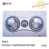 CCC, CE, SAA approved 550W ceiling 2 lamps bathroom fan heaters 3W LED bulb light