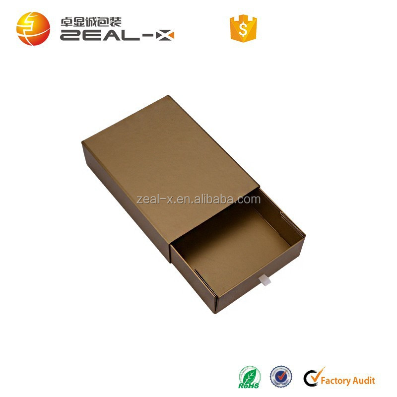New ! Customized for USA rigid cardboard material foldable ribbon pull matt lamination brown gift box
