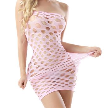 bbcd9058619 women nylon sexy lingerie dress sheer nighty wear strapless chemise babydoll