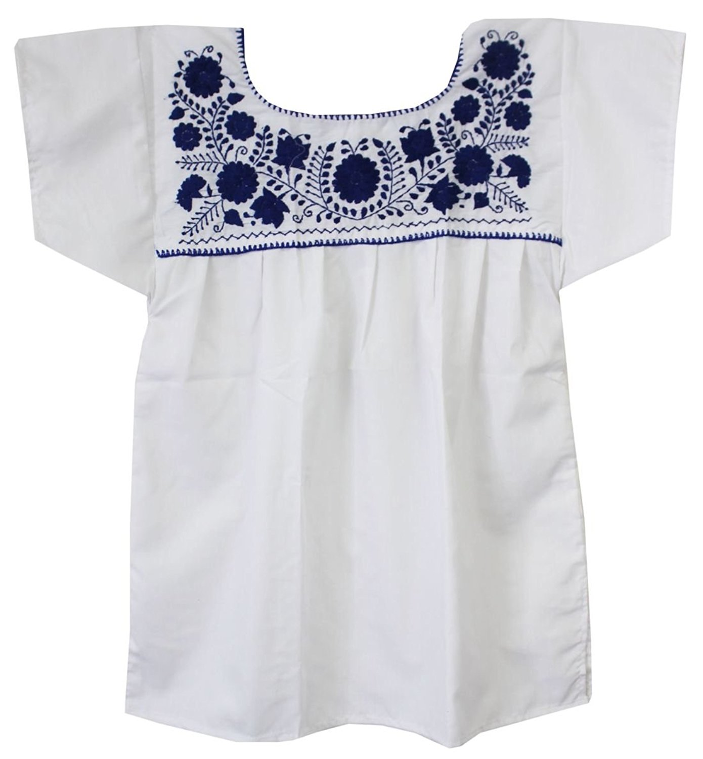 80330c8f19a85 Liliana Cruz Embroidered White Peasant Blouse with Solid Color Embroidery