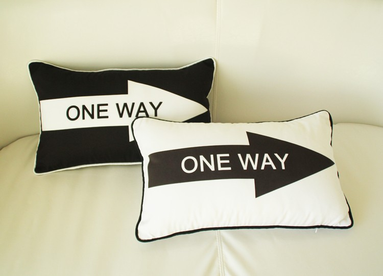 One Way Arrow Cushion Cover Modern Minimalism Black And