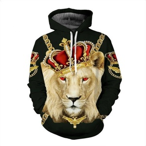 Bulk wholesale 3d printed sublimation polyester animal mens oem hoodie with private label