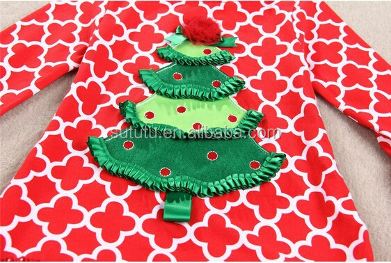 most popular Christmas party dress with flower &Christmas tree elegant festival quatrefoil dress