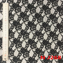 J268 Popular Jacquard Pure Nylon Franch Black Guipure Lace Fabric