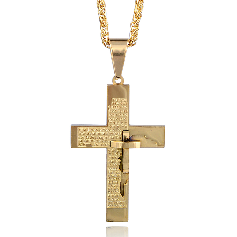 High Quality Stainless Steel Designs Gold Cross Pendant Necklace With Price фото