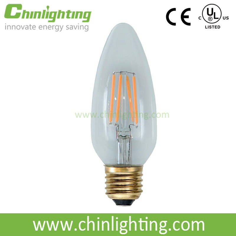 High efficiency UL listed decorative candle shape e26 e12 b13 c45 led filament bulb