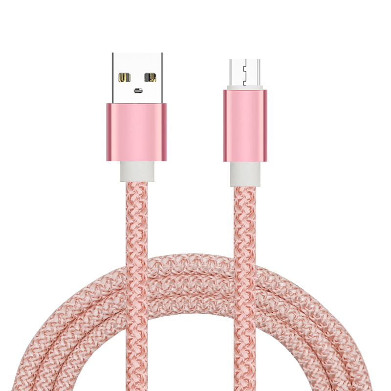 High Speed Transfer 480Mps 1m/3ft Nylon Braided 5Pin Micro USB Cable for Android