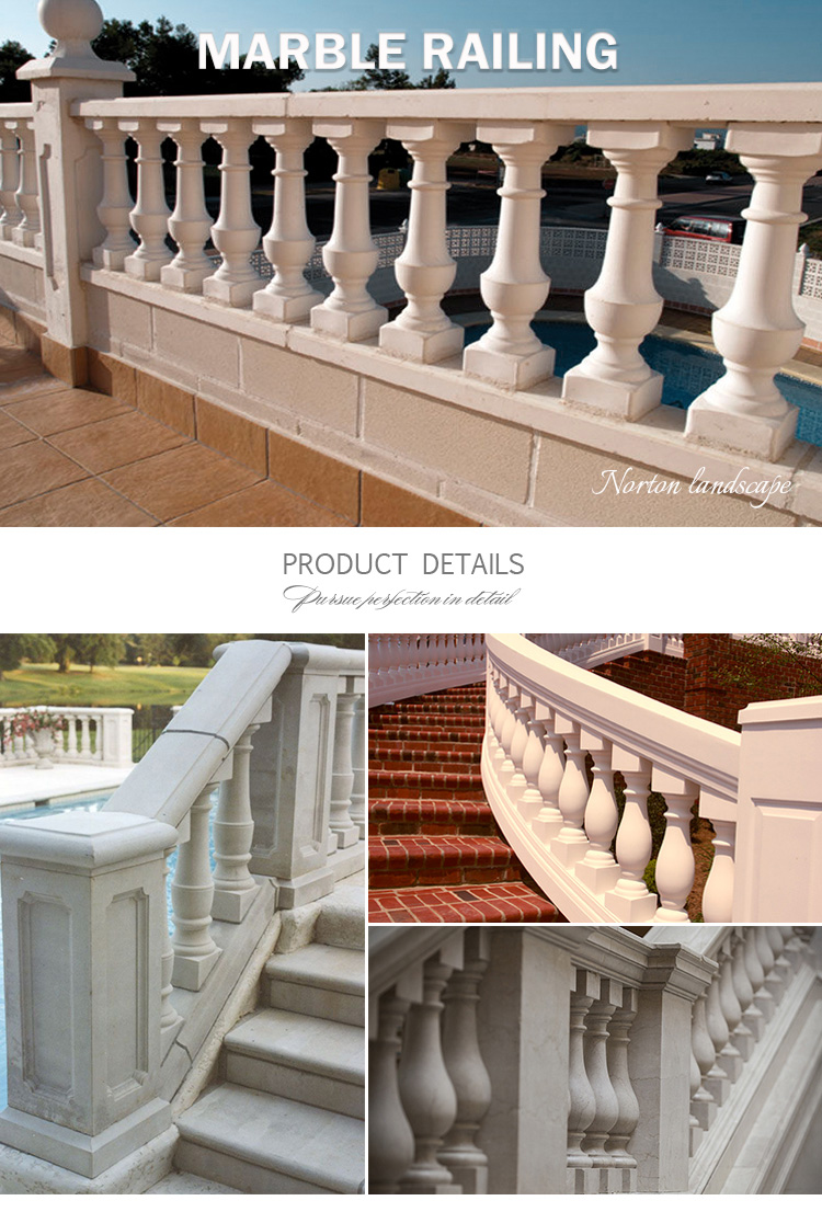 High quality hand-carved Carrara stone handrail home garden used white marble stair railing designs for sale