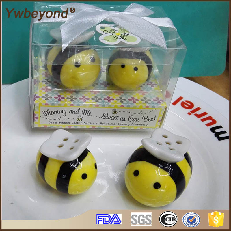 Ywbeyond Meant To Bee Ceramic Salt & Pepper Shakers Baby Shower Favors Baptism Souvenirs Return Gifts
