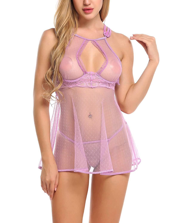 Aimado Women Lingerie Babydoll Halter Underwired Open Back Sleepwear Nightwear S-XXL