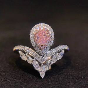 Fashion Design Pear Cut Pink Diamond Engagement Ring