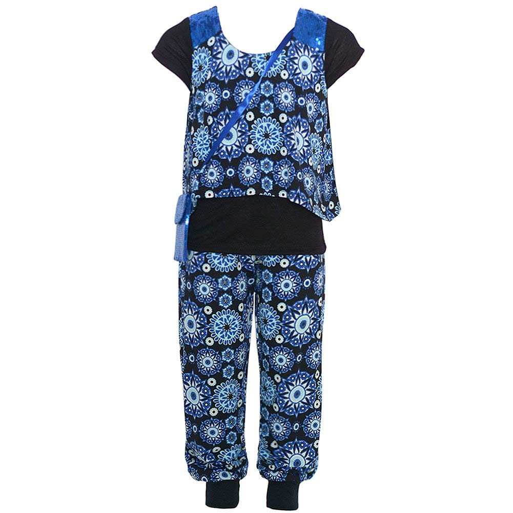 Little Girls Royal Blue Black Floral Pattern Layered Shirt Pant Outfit