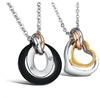 Fashion White Gold Plated steel Forever Lover Heart Pendant Necklace