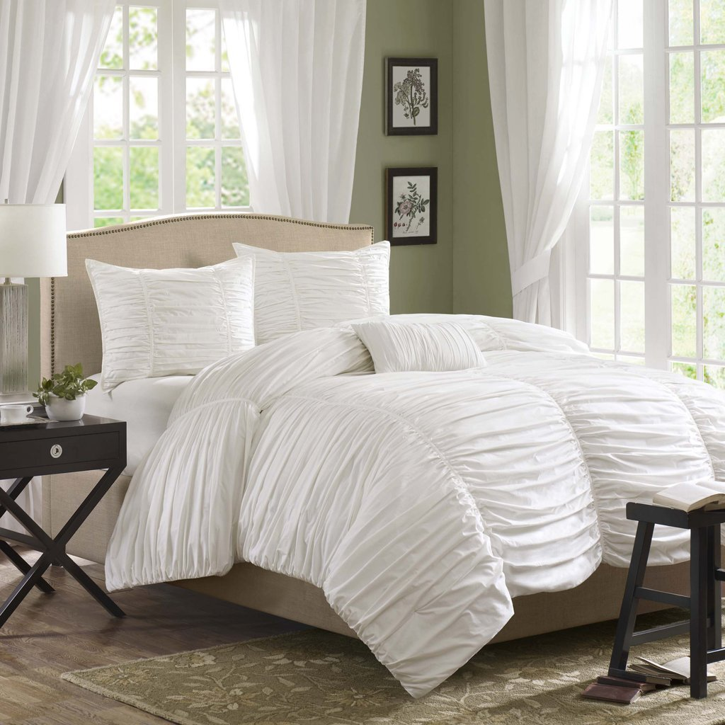 Get Quotations Madison Park Delancey Duvet Cover Full Queen Size White Ruched Pleating