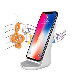 Newest fast wireless charger with BT speaker and phone stand for iPhone X,mobile phone