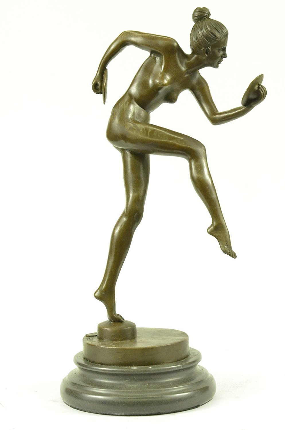 ...Handmade...European Bronze Sculpture Signed Nude Girl Dancing Marble (1X-DS-170) Bronze Sculpture Statues Figurine Nude Office & Home Décor Collectibles Sale Deal Gifts