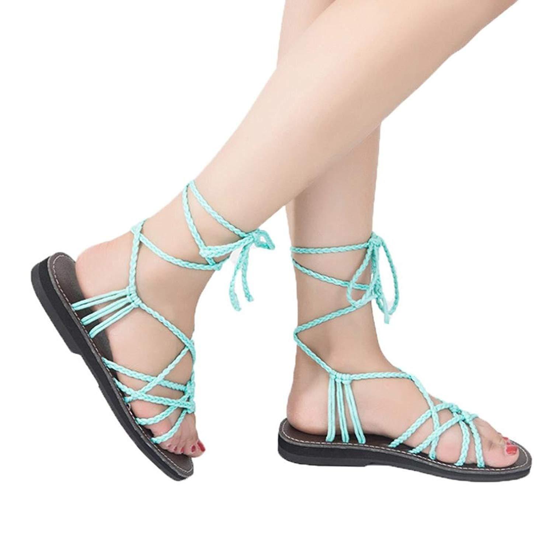 90fb888e5e8a34 Get Quotations · Pervobs Sandals Women Cross Strap Roman Flat Sandals  Summer Basic Elastic Band Slipper Beach Shoes Sandals