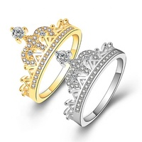 Princess Crown Rings for women cubic zirconia micro pave setting engagement wedding rings female Anel accessories