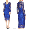 Alibaba China gold supplier provide high grade printing lace perspective ladies evening dress