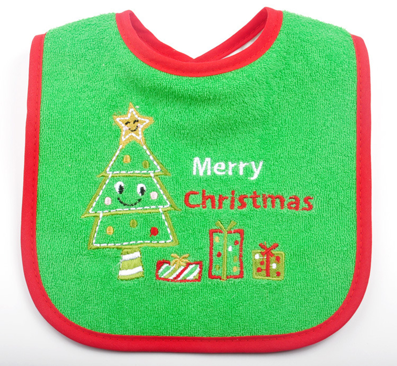 Factory Wholesale Fancy baby bibs Christmas bib with embroidery patterns baby bibs, As pic shwed