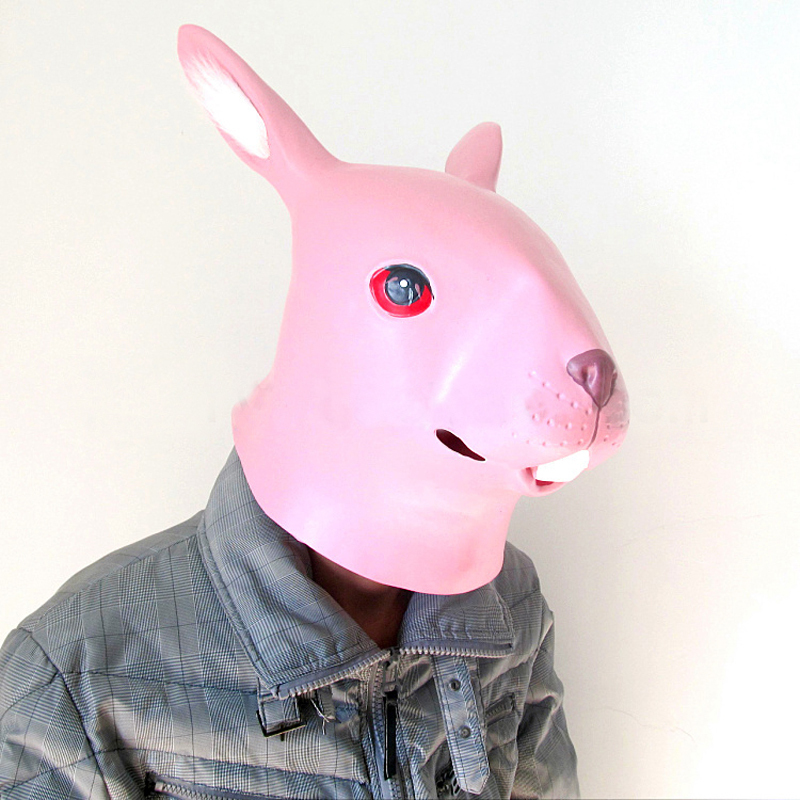 High Quality Latex 3 Colors Cute Rabbit Animal Mask Head Halloween Costume Theater Prop Novelty Adult  Latex Rubber