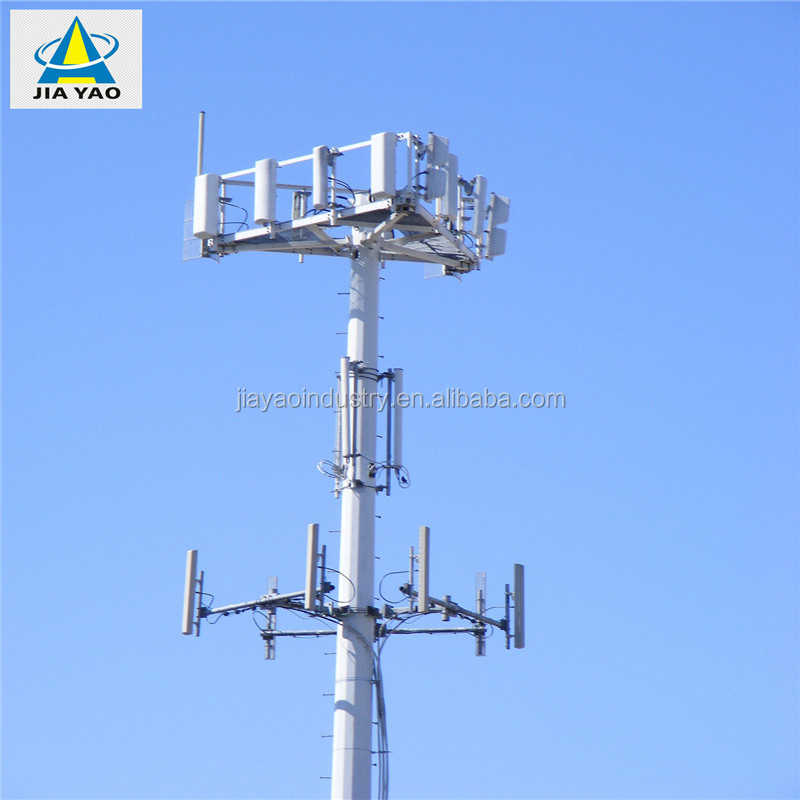 Lowe Galvanized Tube Pipe Radio Antenna Mast Cell Pole For Telecommunication