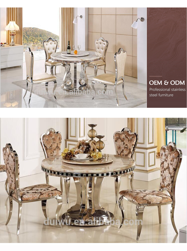 hotel stainlsee steel wedding round dining table factory price customized stainless steel round marble dining table