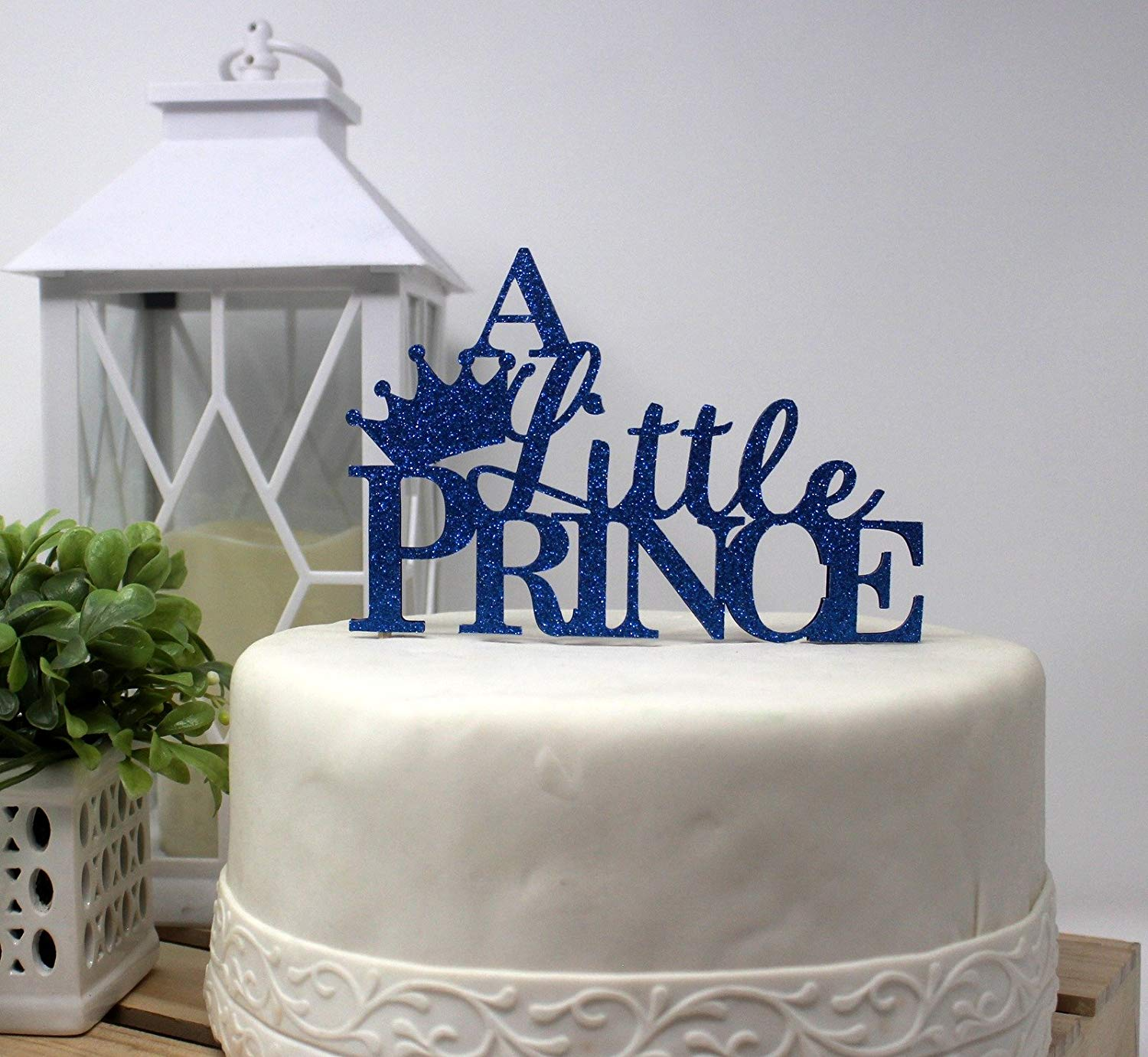 All About Details A Little Prince Cake Topper, 1pc, 1st Birthday, Welcome Baby boy, Party Decor, Glitter Topper (Blue)