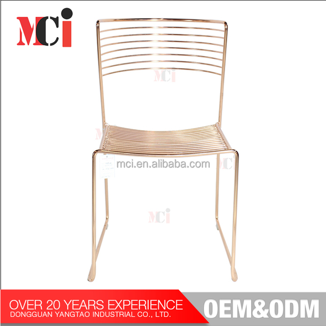 High Quality Furniture Wire Chair Modern Wire Side Metal Chair With Sled  Base