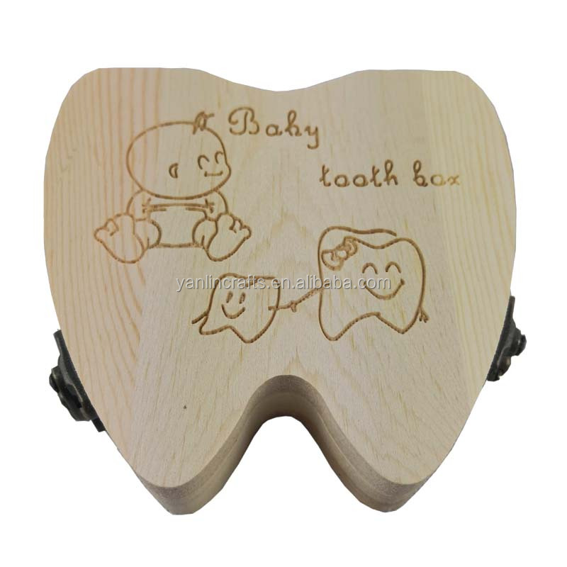 Tooth shape baby first teeth box made of <strong>wood</strong>