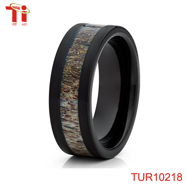7mm Black Tungsten Carbide Wedding Ring Deer Antler Inlay Comfort Fit Band Mens