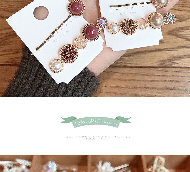 Wholesale Accesory Round Metal Clip Rhinestone Set Woman Pearl Hair Pin
