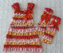 Wholesale new design fashion orange white and yellow lace dress for baby girl with lace leg warmer as set